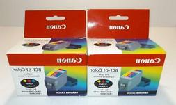 2 New Sealed Canon BCI-61 Color Genuine Ink Tank Cartridge C