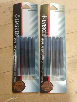 2 packs of 5 Parker fountain pen ink cartridges blue/black