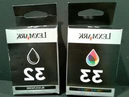 2 SEALED  Genuine Lexmark 32 + 33 BLACK and COLOR, ink Cartr