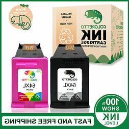 2 Pack 64XL Black&Color Ink for HP ENVY 7120 7130 7132 7155