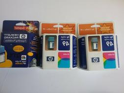 3  hp 49 ink cartridges tri color one is large the other two