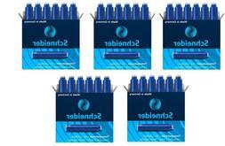 5 Boxes, Schneider Fountain Pen Ink Cartridges, Black, Made