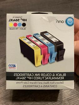 ONN Black & Color Ink Cartridges Remanufactured HP 564XL Bla