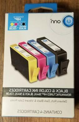 Onn Brand Black & Color Ink Cartridges Remanufactured HP 564