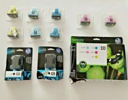 Genuine HP 02 Ink Mixed Lot color Combo Pack and Black Ink -