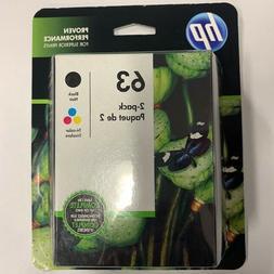 Genuine HP 63 Black & Color Ink Cartridges L0R46AN F6U61AN F