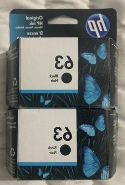 Genuine HP 63 Black Ink Cartridges Twin Pack T0A53AN - 2 x F