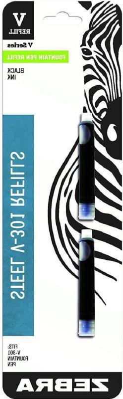 Zebra V-301 Stainless Steel Fountain Pen Refill Cartridge, B