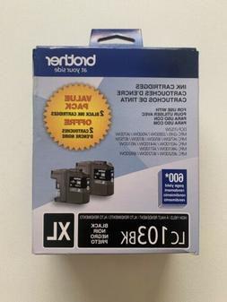 Brother LC103BK Black XL Ink Cartridges Combo 2 Value Pack E