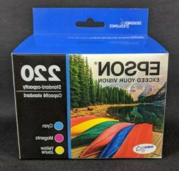 New! EPSON 220 Genuine T220520 Ink Cartridge Cyan Magenta Ye