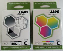 NEW Dell Black and Color Ink Cartridges T0601 & T0602 for J7