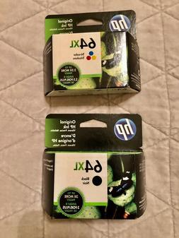 NIB HP Ink Cartridge Combo 64XL Black N9J92AN & 64XL Tri-Col